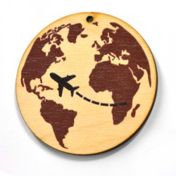 Wooden Pendant Round World Globe 60mm