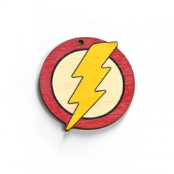 Wooden Pendant Round Thunder 50mm
