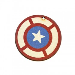 Wooden Pendant Round Star 45mm