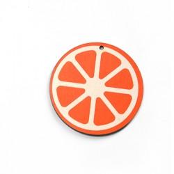Wooden Pendant Round Orange 50mm