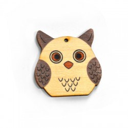 Wooden Pendant Owl 50mm