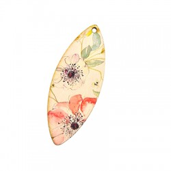 Wooden Pendant Oval Floral 25x65mm