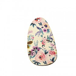 Wooden Pendant Oval Floral 34x60mm