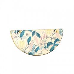 Ξύλινο Μοτίφ Ημικύκλιο Λουλούδια 2 Τρύπες 73x37mm