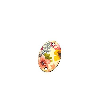 Connettore di Legno Ovale Floreale dipinto 25x17mm