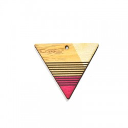 Wooden Pendant Painted Triangle 43x37mm