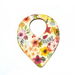 Wooden Pendant Drop Floral 50x65mm