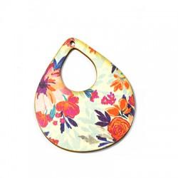 Wooden Pendant Drop Floral 50x59mm