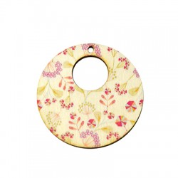 Wooden Pendant Round Floral 45mm