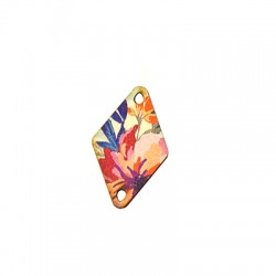 Wooden Connector Rhombus Floral 19x30mm