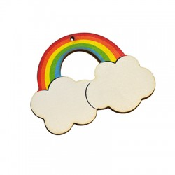 Wooden Pendant Rainbow 80x62mm