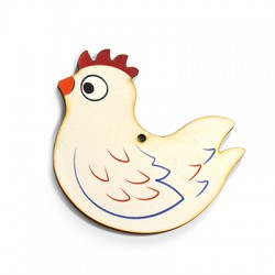 Wooden Pendant Chicken 68x60mm