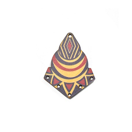 Ciondolo di Legno Geometrico dipinto 37x48mm
