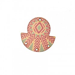 Ciondolo di Legno Geometrico dipinto 35mm