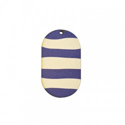 Wooden Pendant Painted Striped Oval 30x55mm