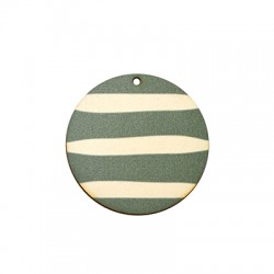 Wooden Pendant Painted Striped Round 45mm