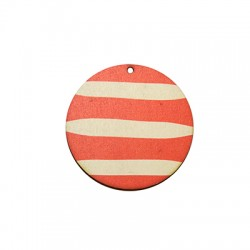 Wooden Pendant Painted Striped Round 50mm