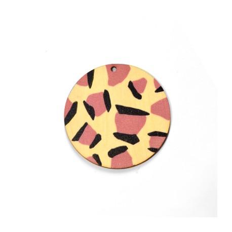 Ciondolo di Legno Rotondo dipinto 50mm