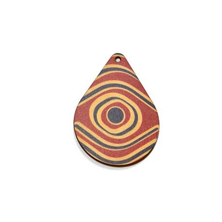 Ciondolo di Legno Goccia dipinta 64x29mm