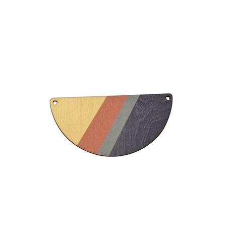 Ciondolo di Legno Semicerchio dipinto 69x35mm