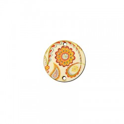 Wooden Connector Round Floral 27mm