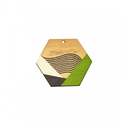 Wooden Pendant Painted Hexagon 43x37mm