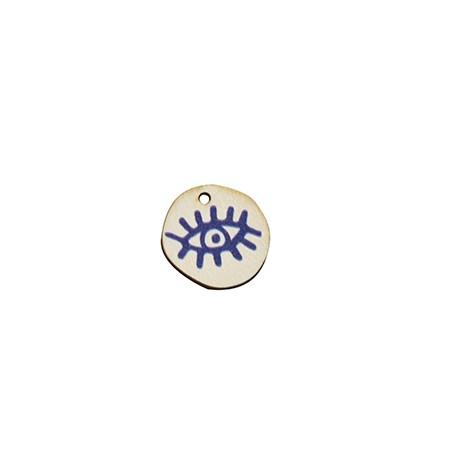 Charm di Legno Rotondo con Occhio Portafortuna dipinto 18mm