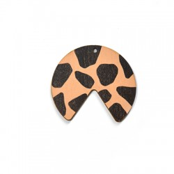 Wooden Pendant Irregular Animal Print 40x36mm