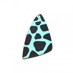 Wooden Pendant Triangle Animal Print 35x54mm