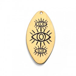 Wooden Pendant Oval with Eyes 32x60mm