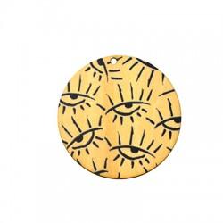 Ciondolo di Legno Rotondo con Occhi Portafortuna dipinti 55mm