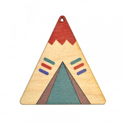 Wooden Pendant Indian Tent 65x70mm