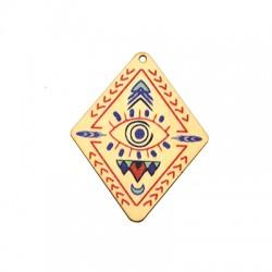 Wooden Pendant Rhombus with Eye 44x54mm