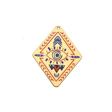 Ciondolo di Legno Rombo con Occhio Portafortuna dipinto 45x54mm