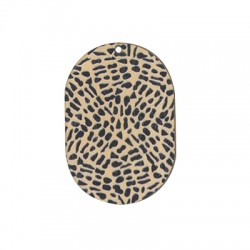 Wooden Pendant Oval Animal Print 34x50mm