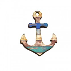 Wooden Pendant Anchor 45x60mm