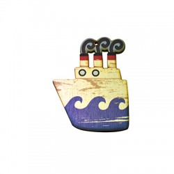 Wooden Pendant Painted Boat 60x80mm