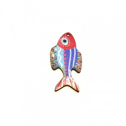 Wooden Pendant Painted Fish 27x55mm