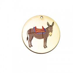 Wooden Pendant Round Donkey 40mm