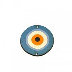 Connettore di Legno Rotondo con Occhio Portafortuna dipinto 39mm
