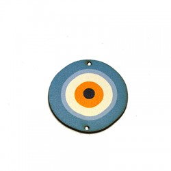 Wooden Pendant Round Eye w/ 2 Holes 39mm