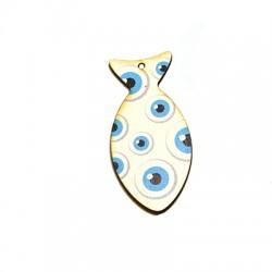 Ciondolo di Legno Pesce con Occhi Portafortuna dipinti 60x28mm