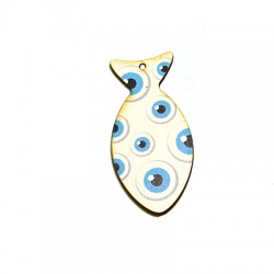 Wooden Pendant Fish with Eyes 60x28mm