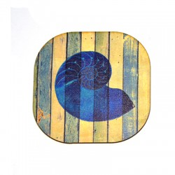 Wooden Beer Mat Square Shell 80mm
