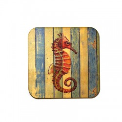 Wooden Beer Mat Square Sea Horse 80mm
