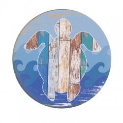 Sottobicchiere di Legno Quadrato con Tartaruga Marina dipinta 80mm