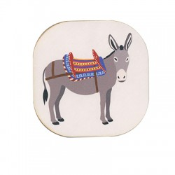 Wooden Beer Mat Square Donkey 80mm