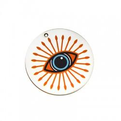 Ciondolo in Legno Rotondo con Occhio Portafortuna dipinto 50mm