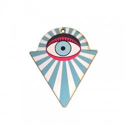 Ciondolo in Legno Triangolo con Occhio Portafortuna dipinto 41x50mm