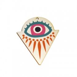 Ciondolo in Legno Triangolo con Occhio Portafortuna dipinto 49x60mm